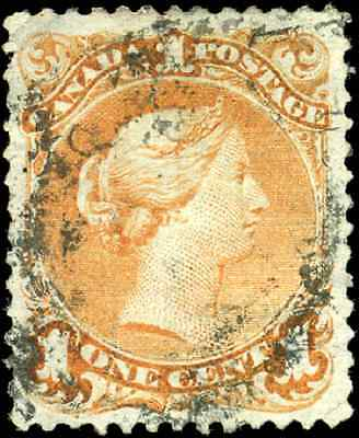 Canada #23 used F-VF 1869 Queen Victoria 1c yellow orange Large Queen CV$175.00