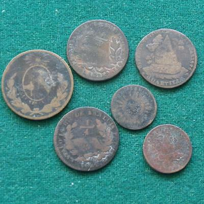6 coins mix lot of Mexican Coppers 1/4 & 1/8