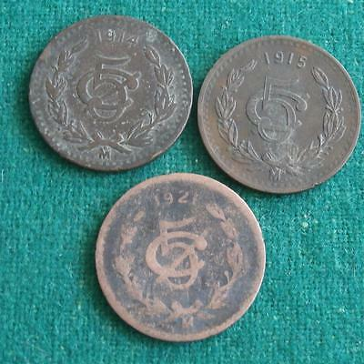 1914 1915 & 1921 MEXICO  5 Cents  Bronze 3 coins