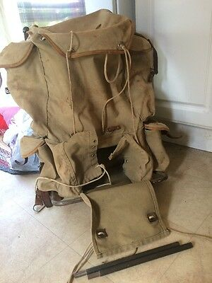 VINTAGE Military/Boy Scout? CANVAS BACKPACK  METAL FRAME With Extension Poles