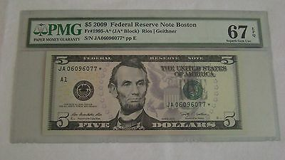 PMG EPQ 67 2009 $5 Federal Reserve Note FR#1995-A* Star Note