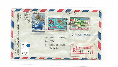 1970 Trinidad & Tobago registered airmail to Wellston OH