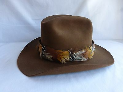 Vintage Churchill Western Hat Felt Brown Pheasant Feather Hat Band Sz 7 1/8