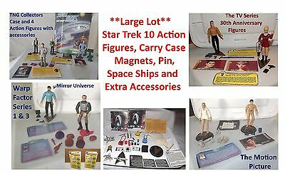 Large Lot Star Trek Playmates Action Figures, Case, Space Ships, Magnets & More