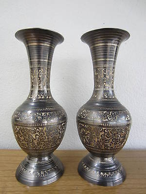 Pair of Antique Vintage Intricate Engraved Floral Ornate Brass Vase Urns