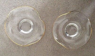 "Gorgeous Pair Vintage Gold Rim 6.75"" Hand Crafted Glass Wave Candle Holders"