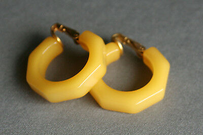 Vintage Pair Octagonal Bakelite Earrings Clip on Type Translucent Yellow