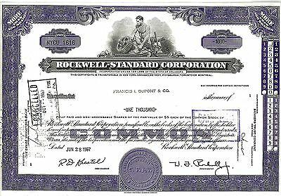 Rockwell Standard Corporation, 1967 (1.000 Shares), sig. W.J.Rockwell