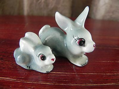 Cute Porcelain Ceramic Bunny Rabbit Mother Baby Japan Figurines