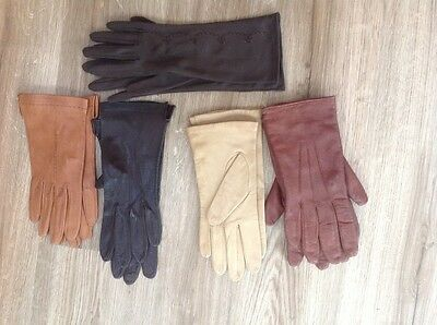 5 pairs of ladies gloves, 4 leather