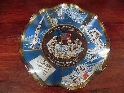 Glass NASA First Lunar Landing Of Mankind Commemorative Ruffled Plate Dish