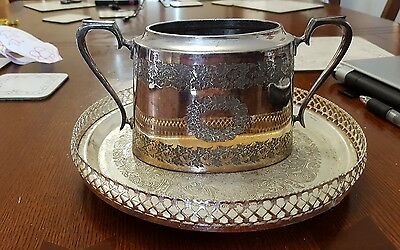 Walker and Hall Silver Plated engraved sugar bowl art deco on tray