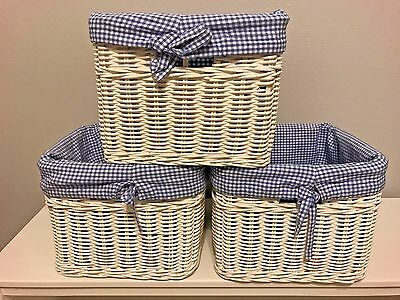 Lot of 3 Pottery Barn Kids Simply White Sabrina Baskets Blue Gingham Liner Large