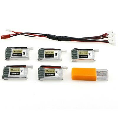 5PCS Eachine E010S 3.7V 240mAh 45C Upgrade Battery USB Charger Set RC Quadcopter