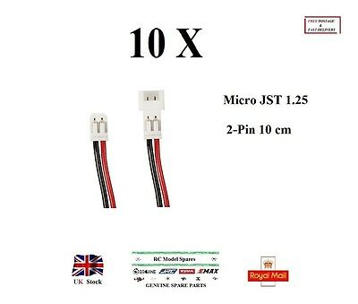 10 Pairs Micro JST 1.25mm 2-Pin 100mm Male&Female Connector Plug prewired Cables