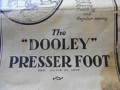 """Antique 1929 The """"DOOLEY"""" Pressure Foot INSTRUCTIONS AND SUGGESTIONS Brochure"""