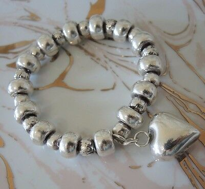 Heavy Sterling silver bracelet with Heart Charm