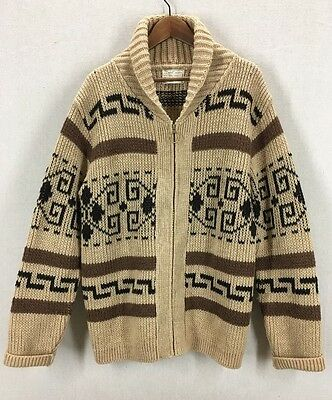 Vintage Pendleton Aztec Print Wool Lebowski The Dude Shawl Collar Sweater Sz L