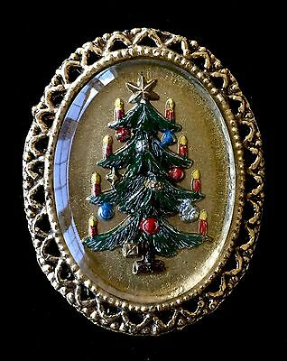 Vintage Gold Tone Christmas Tree Brooch 2""