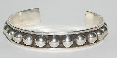 Heavy Taxco Mexico Hammered Dome Sterling Silver Cuff Bracelet  29 Grams