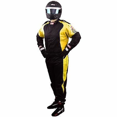 Rjs Racing 1 Piece Elite Fire Suit Sfi 3-2A/1 Black / Yellow Xl Extra Large