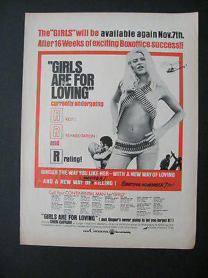 1973 Motion Picture GIRLS ARE FOR LOVING Continental Movie Scarce Trade Print Ad