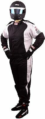 Scca Fire Suit 1 Piece Elite Sfi 3-2A/1 Black  / White 2X Rjs Racing Xxl