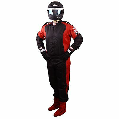 Scca Fire Suit 1 Piece Elite Sfi 3-2A/1 Black  / Red Xl Rjs Racing