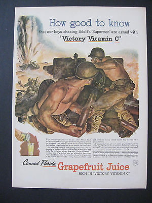 """Large 1940's WWII Our Boys Chasing Adolf's """"Supermen"""" Victory Vitamin C Print Ad"""