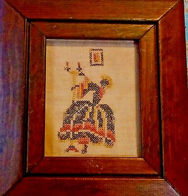 Antique Sampler Antique Black Americana Victorian Folk Art  Old Wood Frame glass