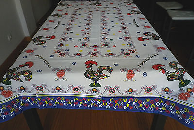 Portuguese Good Luck Rooster Rectangular Table Cloth - Portugal Colorfull Design
