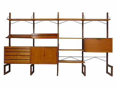 Poul Cadovius Cado Danish Modern Free Standing Teak Wall Shelving Unit System