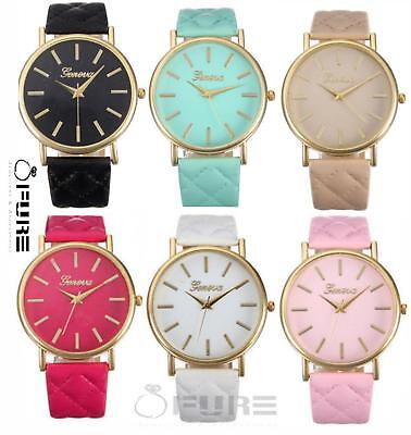 Trendy Fashion Women Lady Geneva Leather Band Analog Quartz Wrist Watch
