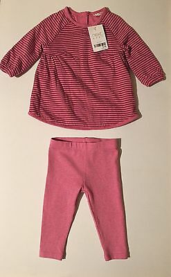 Baby Girls 3-6 Months NEXT Pink striped Dress + Pink Leggings Set New With Tags