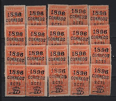 ECUADOR 1896 COAT OF ARMS BLACK SURCHARGE 2C ON 10C SHADES OVERPRINT SC# 72c