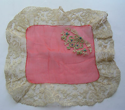 Antique Lace Trim Ladies Silk Handkerchief Hand Embroidered