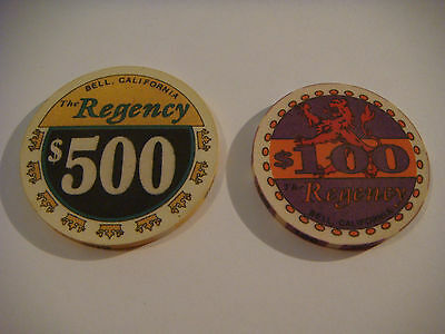 Regency Casino Bell, California  $500 Chip  43mm Excellent Quality