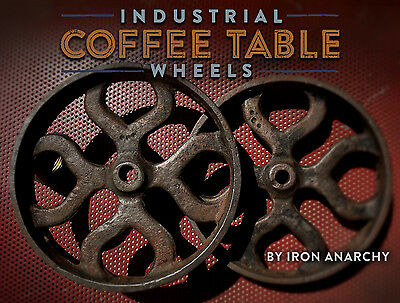 IRON CART WHEELS, Vtg Antique Cast Metal Industrial Factory Coffee Table Casters