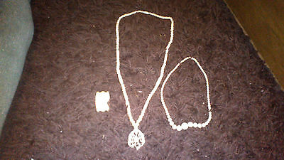 antique chinese carved necklace x 2 and napkin ring