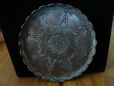 Old Navajo Silver Round Tray BEAUTIFUL Stampwork! (8) Thunderbirds 48 grams