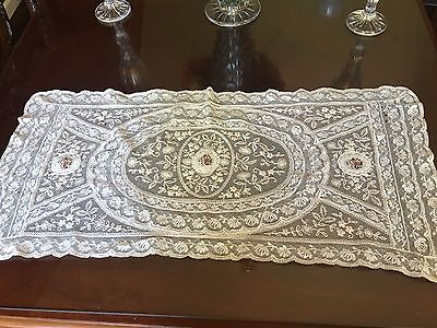 Large Antique Tambour Lace Doily Petit Point Embroidery Silk Center