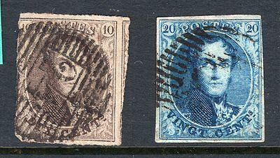 Belgium 2x early imperf stamps see scans x2