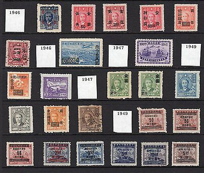 China page of early mint and used stamps inc overprints with annotation