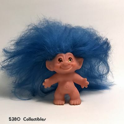 """Vintage Unmarked Possibly Dam Troll Doll Original Blue Mohair Amber Eyes 3"""""""