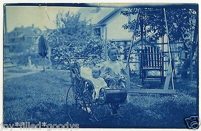 1900s BEAUTIFUL CYANOTYPE BACKYARD SCENE WITH KIDS AND SWING PHOTO POSTCARD