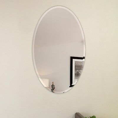 Oval Beveled Polish Frameless Wall Mirror with Hooks Fab Glass and Mirror (NEW)