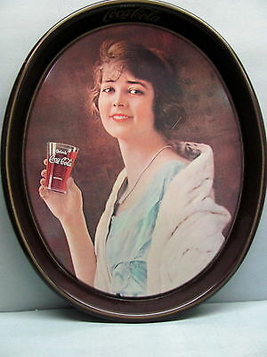 Vintage Coca Cola Collectible Metal Tray With Old Advertisment Print- Coke Tin