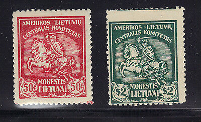 2 Stamps Seal American Lithuanian Central Committee Revenue Charity Mint See Pic