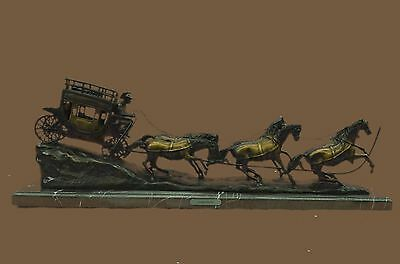 """C.M. Russell """"Stagecoach"""" Western Horse Buggy Bronze Sculpture Statue Decor 2FT"""