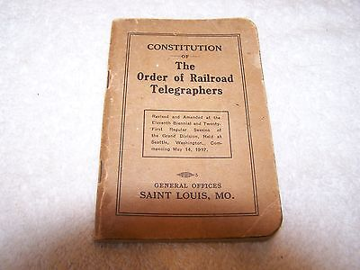 Constitution of The Order of Railroad Telegraphers (1917 Booklet)